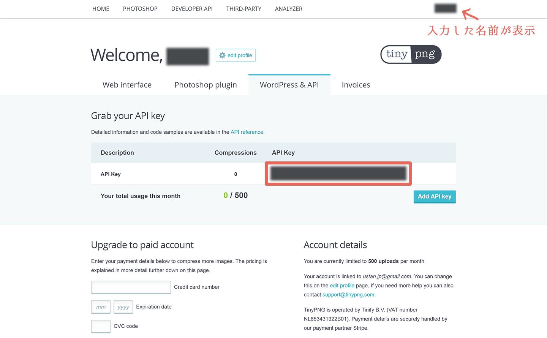 TinyPNG APIキー表示